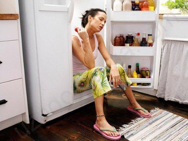 Девушка сидит в холодильнике.