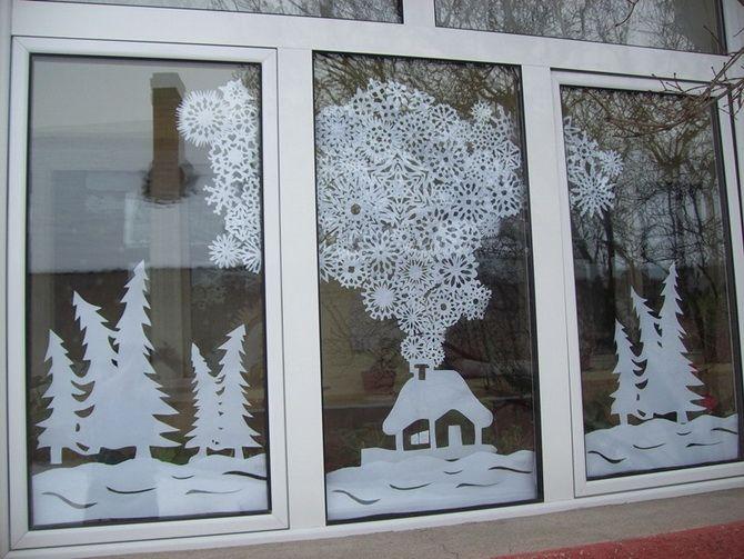 идеи как украсить окно к новому году