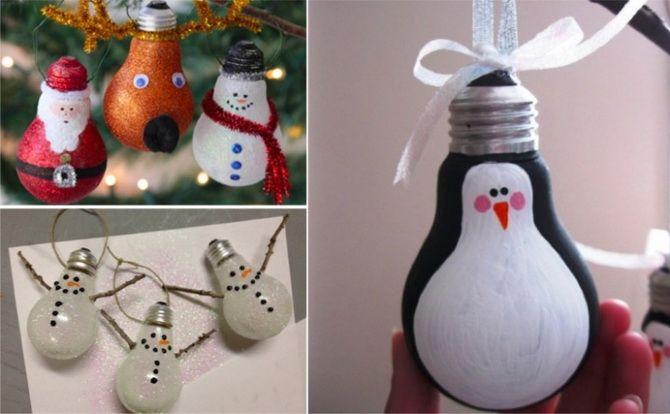 новогодние игрушки на елку из лампочек