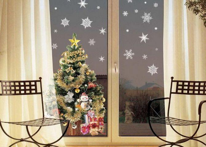новый год вырезать из бумаги на окно