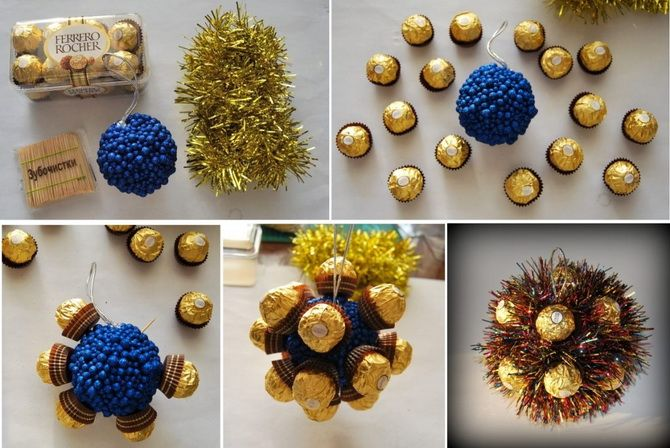 новогодние игрушки из конфет