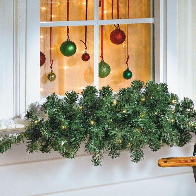 украсить окна в саду к новому году